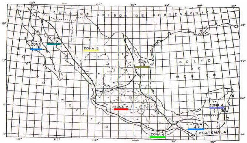 mapa de mexico dividido por zonas