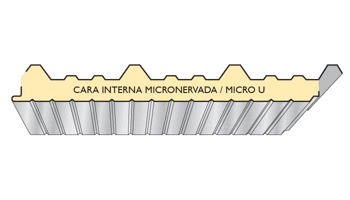 grafico panel aislante, cara interna micronervada